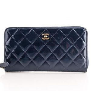 Chanel Quilted Patent Wallet Blue
